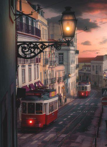 Tramvaia-e-vjeter-ne-Lisbone,-Portugali